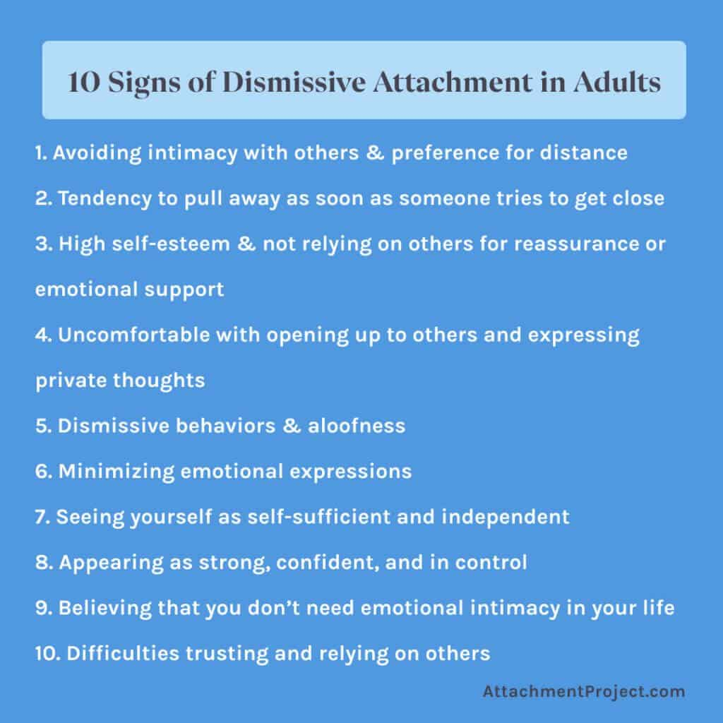 10 signs dismissive avoidant attachment style in adults