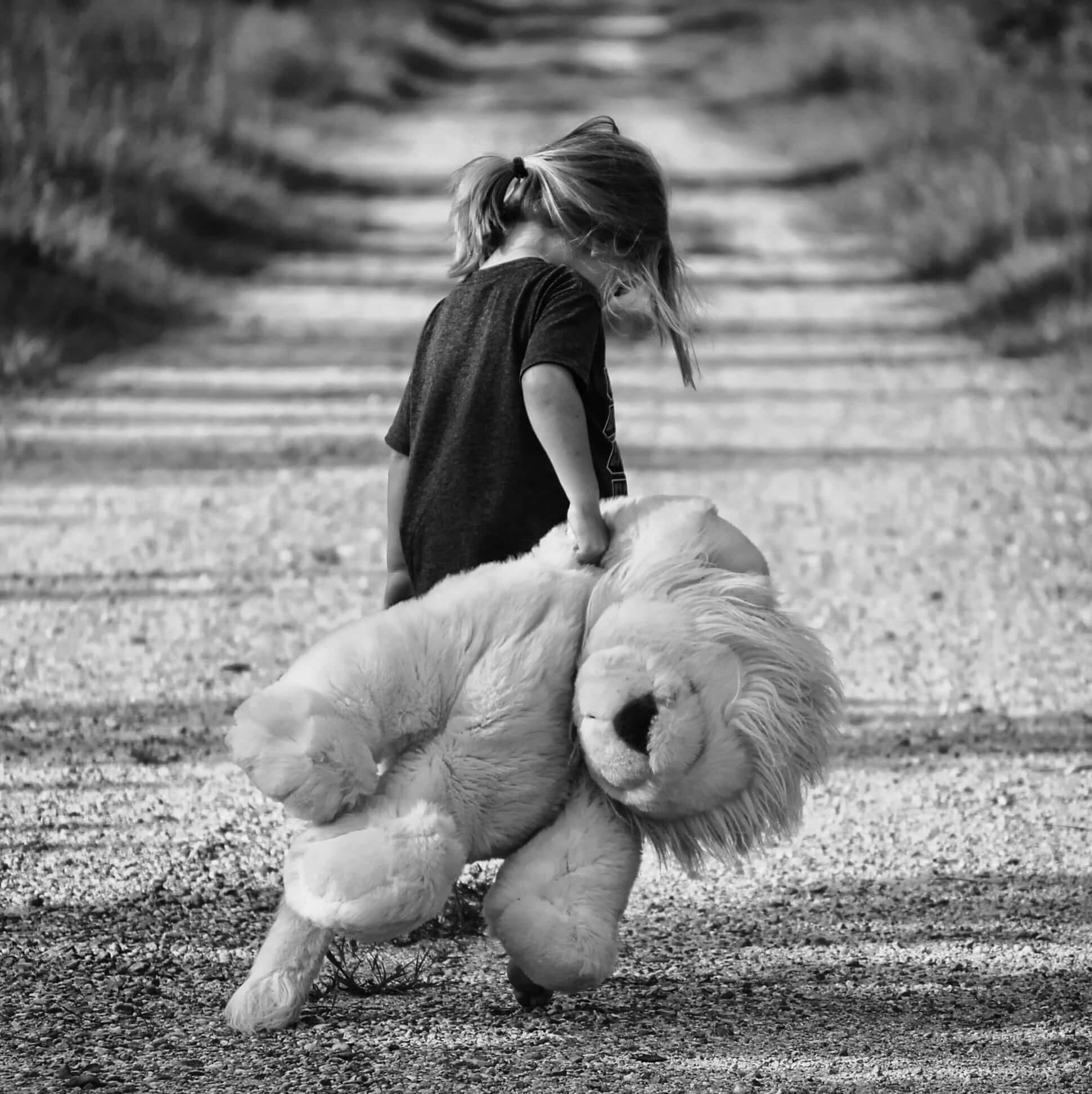 Early Maladaptive Schemas - Little Girl Holding Teddy Bear On a Road